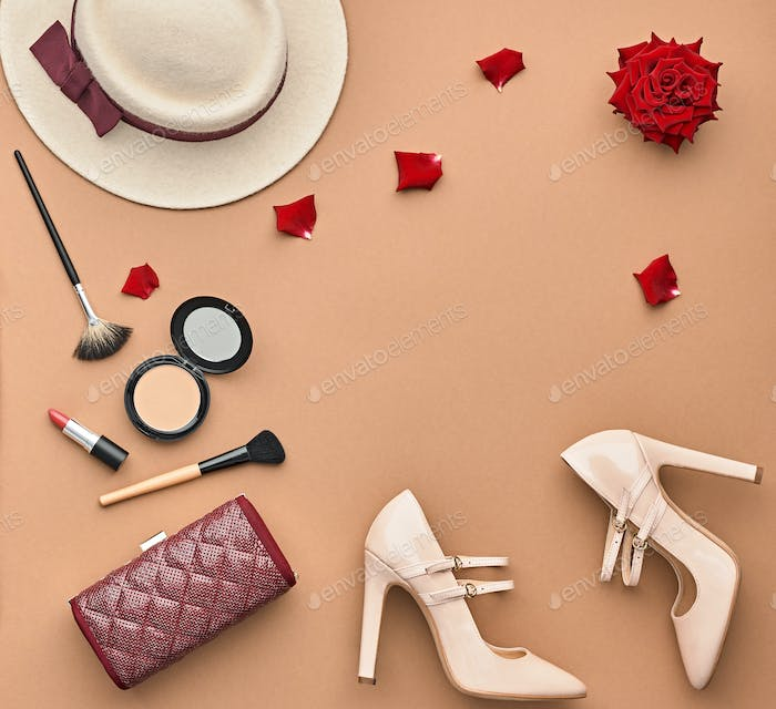 Fashion Stylish Set. Top view. Essentials Cosmetic