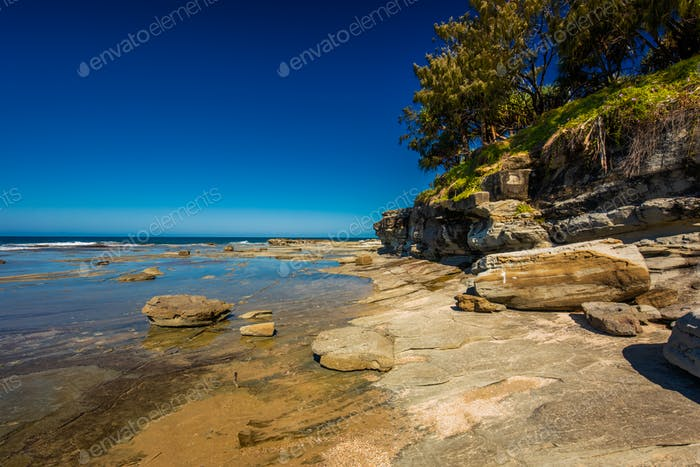 Sunny view of Shelly Beach at Caloundra, Sunshine Coast, Queensl