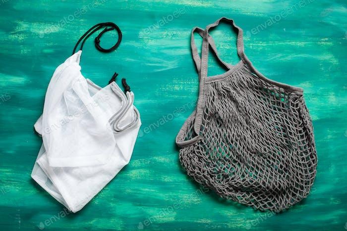 reusable mesh cotton and nylon shopping bag, plastic free zero waste concept