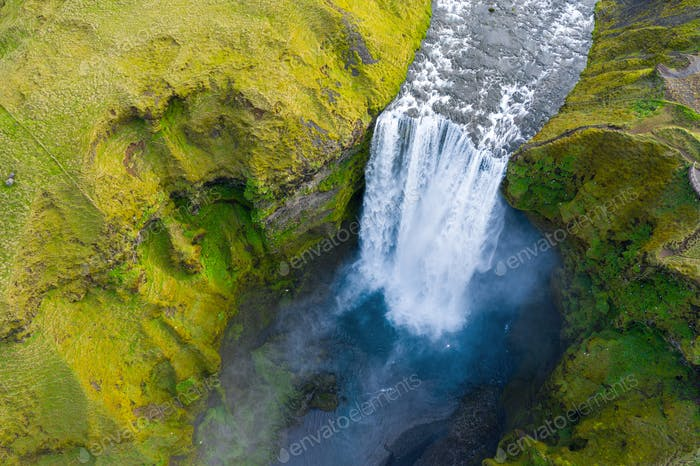 Aerial drone view of Skogafoss waterfall in Iceland