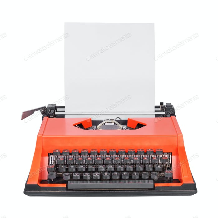 Red typewriter solated on white