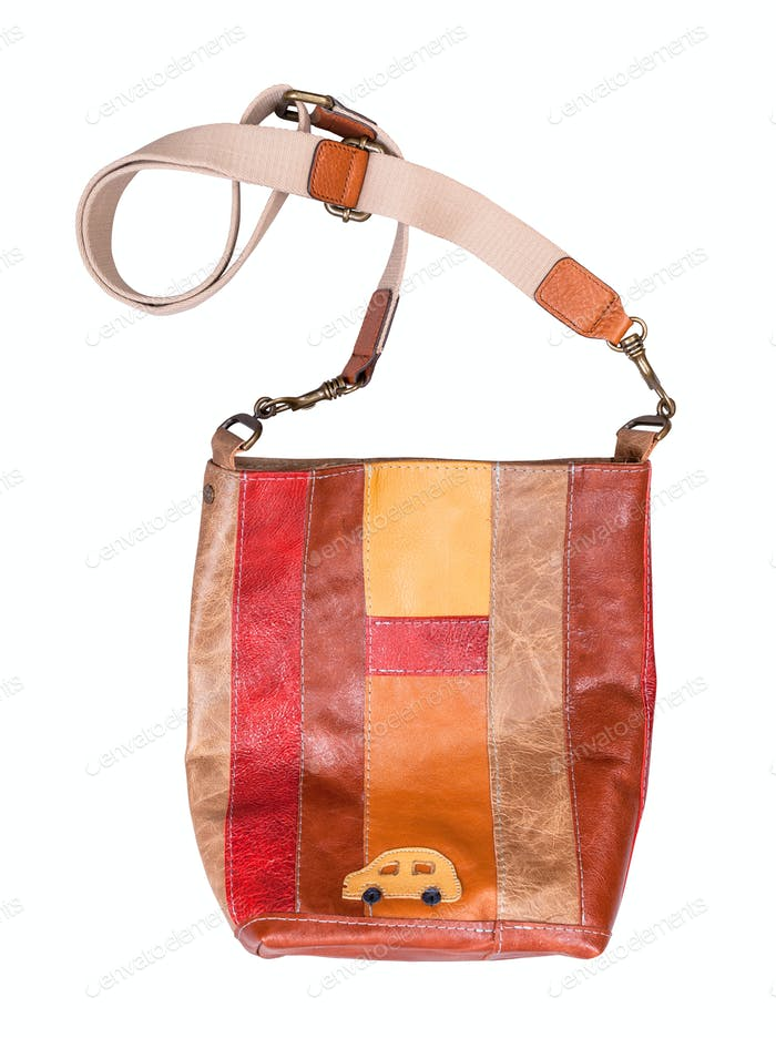 striped leather bag with car picture decoration