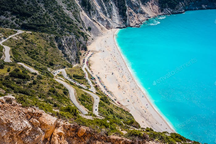 Serpentine road to famous Myrtos Beach. Favorite visiting place on Kefalonia, Greece