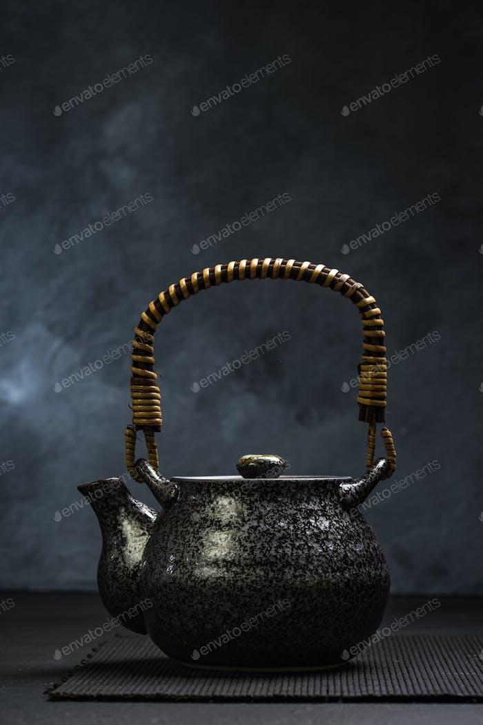 Oriental style ceramic tea pot