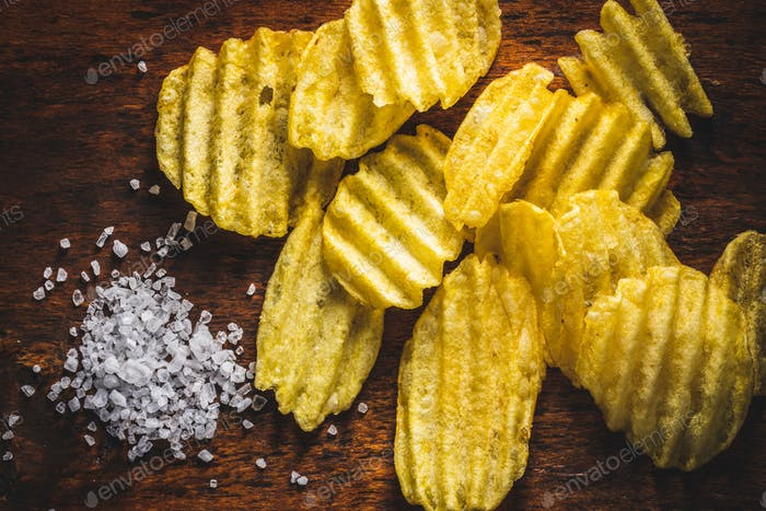Crispy potato chips and salt.