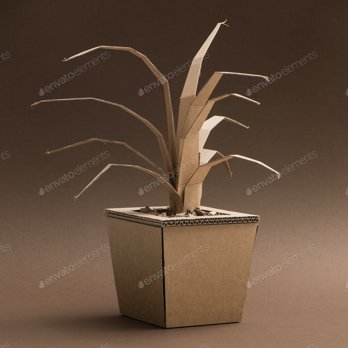 Decorative plant made of cardboard