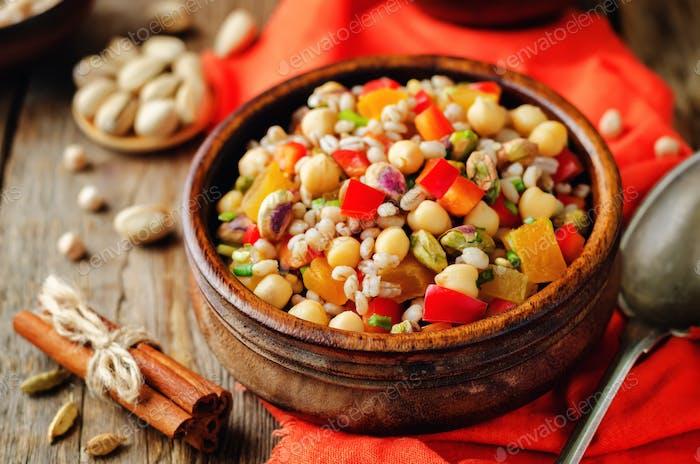 Moroccan chickpeas barley pistachio salad