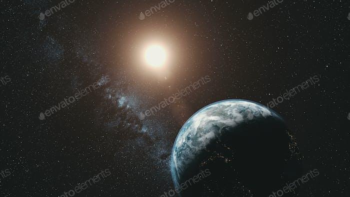 Earth orbit rotation sun beam milky way background