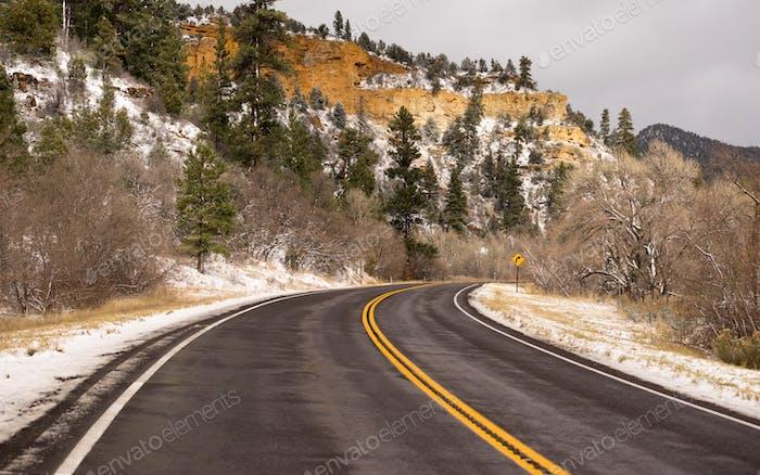 Icy Roadway Utah Territory Highway 89 Winterreisen