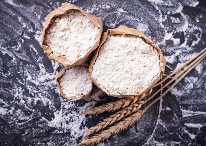 Flour and dry wheat ears