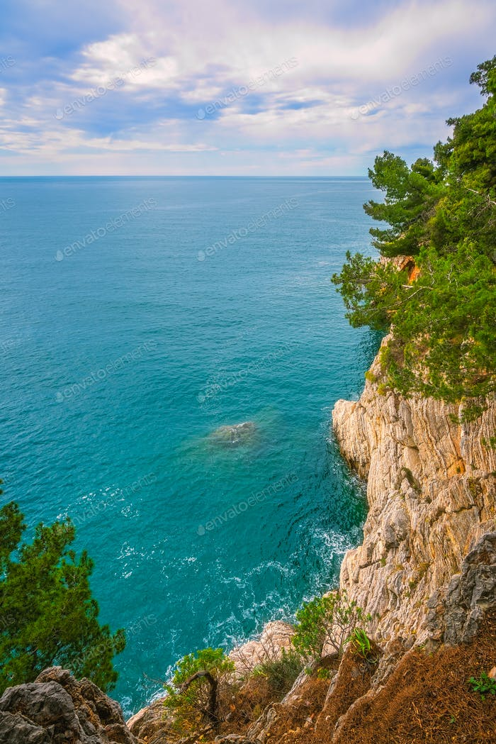 Beautiful high cliffs in Petrovac bay