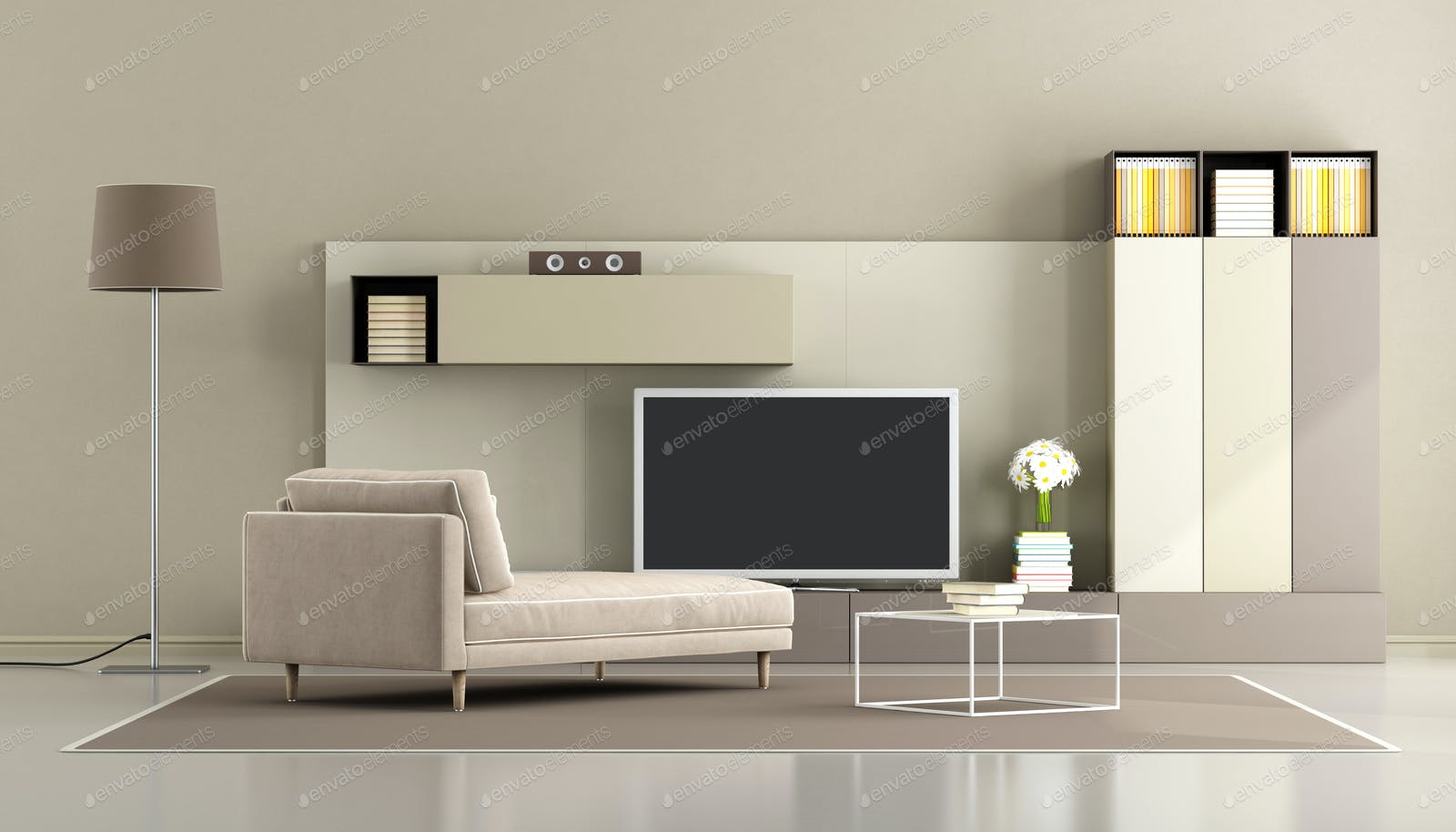 Modern Living Room With Tv Unit Photo By Archideaphoto On Envato Elements