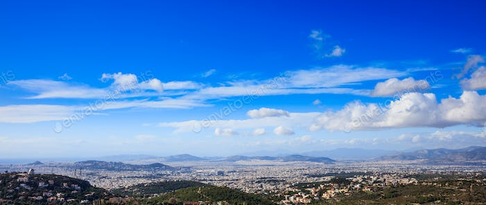 Greece, Athens. Panoramic view on blue sky background