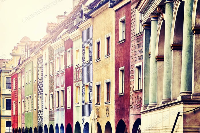 Old merchant houses facades in the Poznan, Poland.