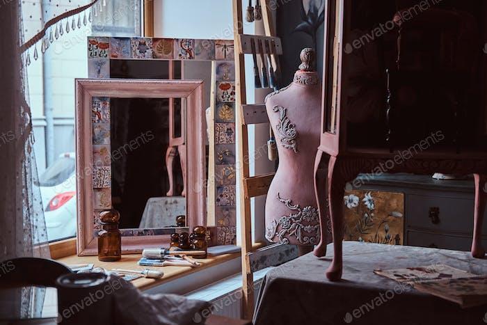 Artist workshop. Interior and furniture