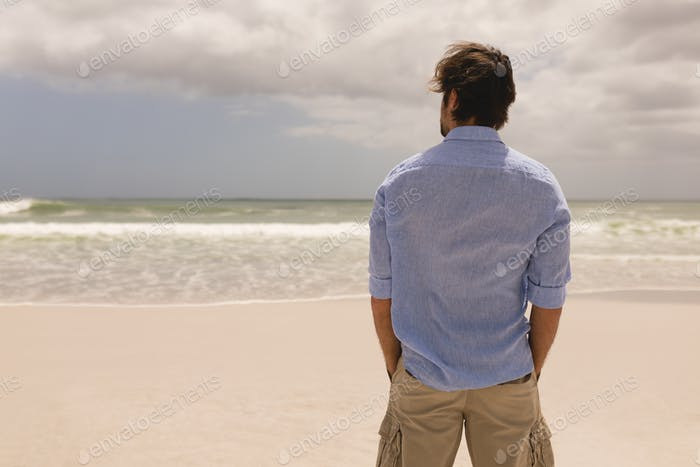 Rear view of man standing with hands in pocket on the beach