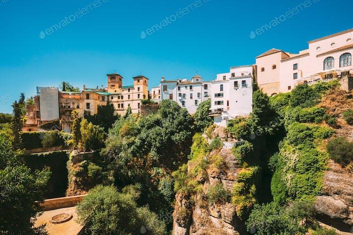 Ronda, Spain. Palacio Del Rey Moro And Hanging Gardens In Ronda, Spain. 14th Century Moorish Palace