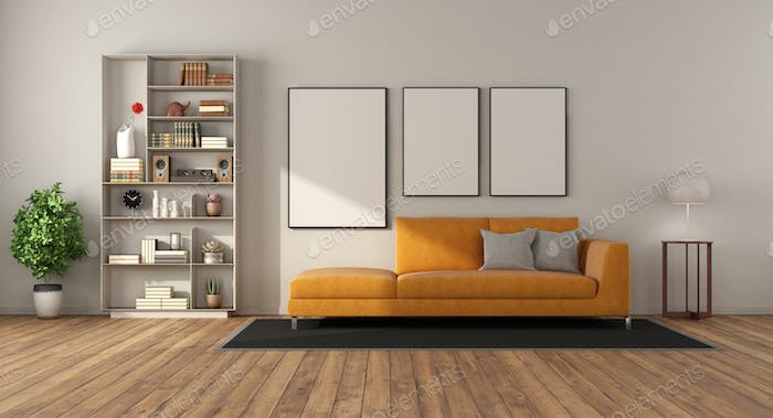 Modern living room with sofa and bookcase