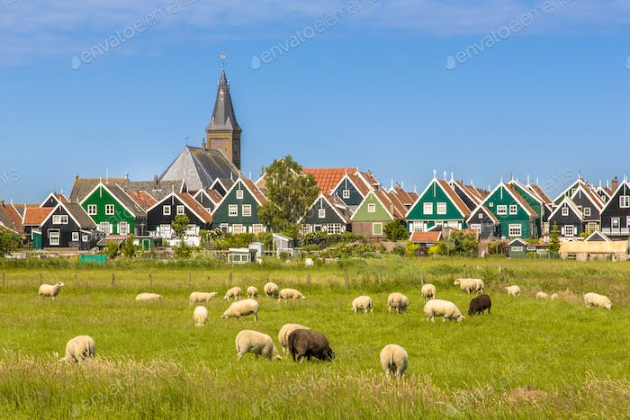 Colorful wooden houses and church in Dutch Village