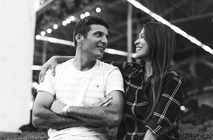 Couple Dating Amusement Park Romantic Love