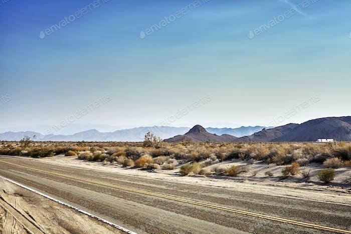 Desert highway, travel concept, USA.