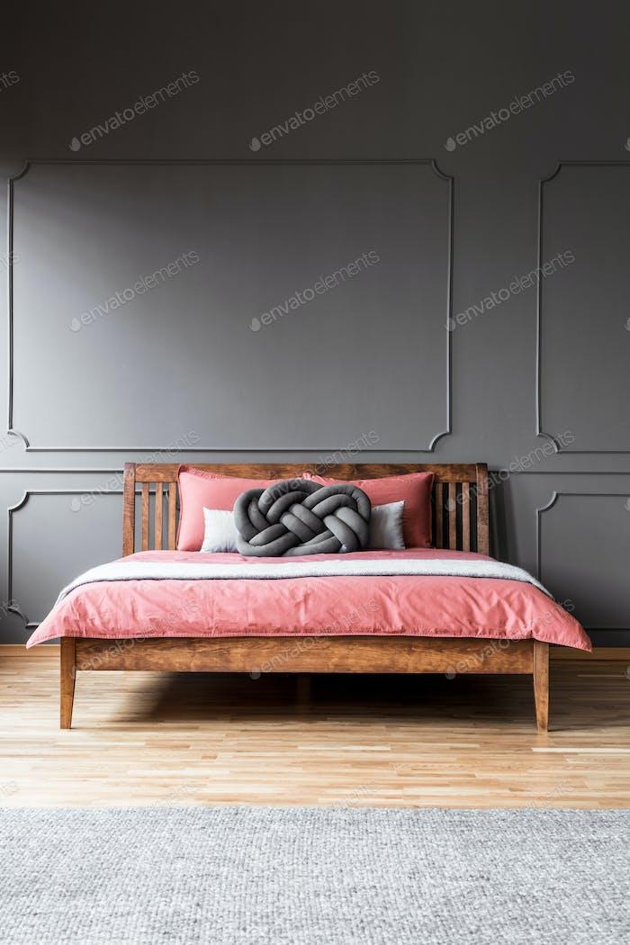Grey hotel bedroom interior