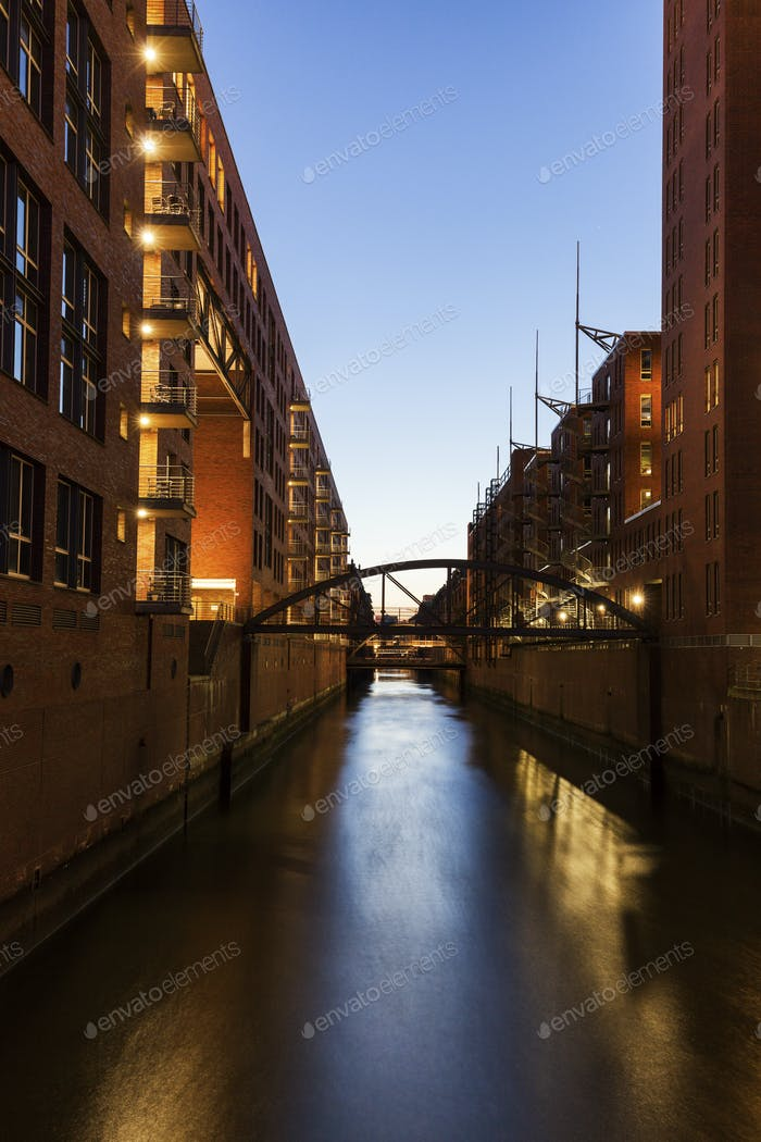 Architecutre of Speicherstadt in Hamburg