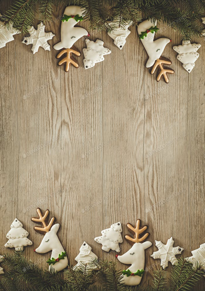 Christmas holidays composition on wooden background with Copy space