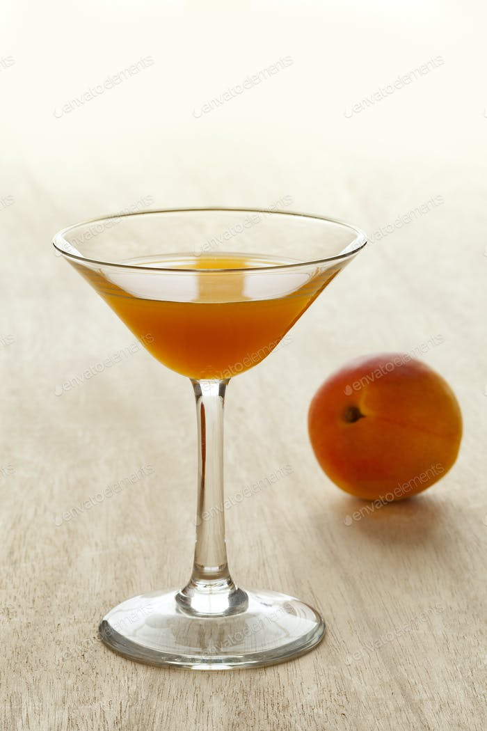 Glass of apricot liqueur