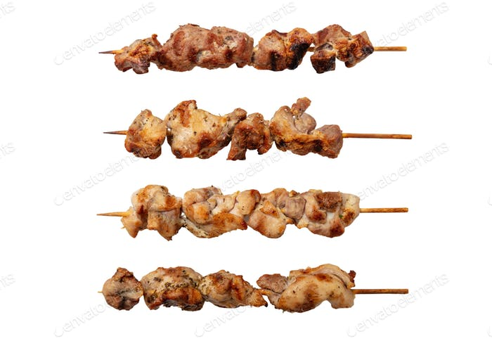 Souvlaki traditional greek meat food isolated on white background, top view