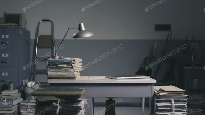 Vintage style office with lots of paperwork