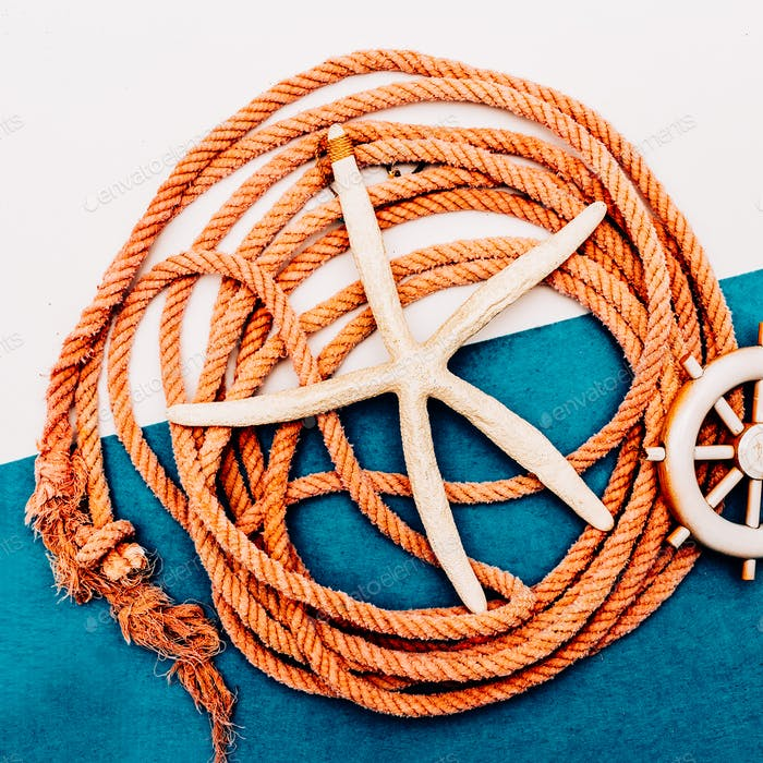 Sea vibration. Sea rope. Fisherman's set
