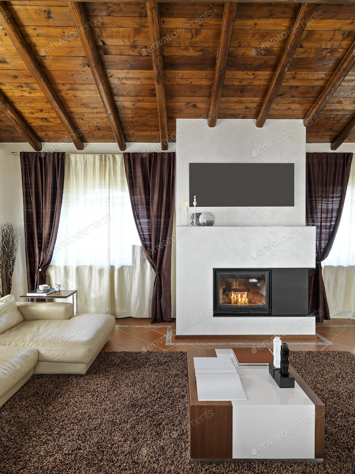 Interiors of a Modern Living Room With Fireplace