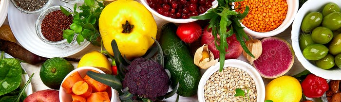 Banner of Healthy food selection, clean eating. Fruit, vegetable, seeds,