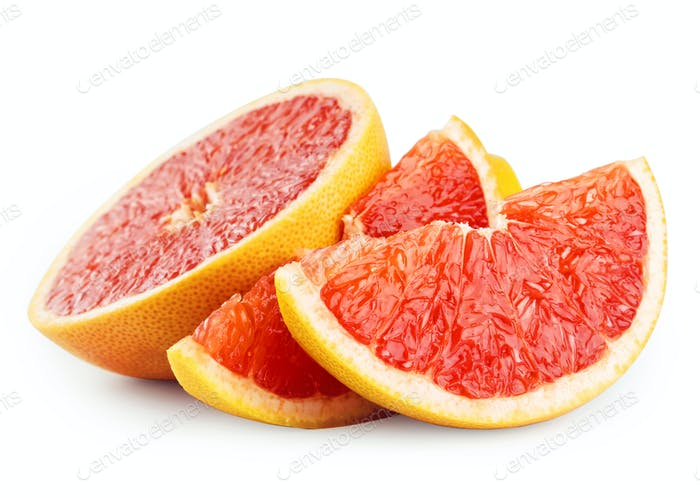 Half grapefruit and slices