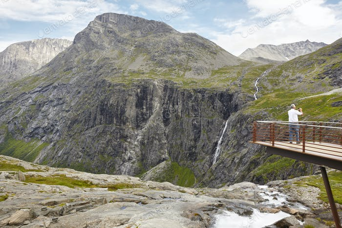 Norwegian mountain tourist landscape. Trollstigen viewpoint. Travel Norway. Horizontal