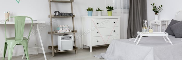 Comfy bed in a cozy room