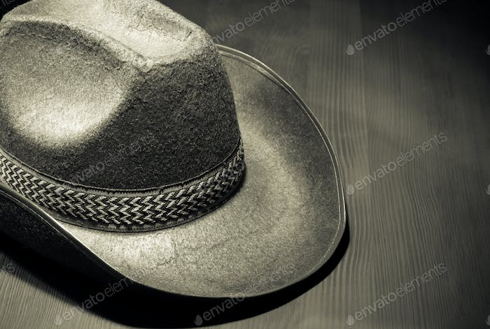 cowboy hat on wood