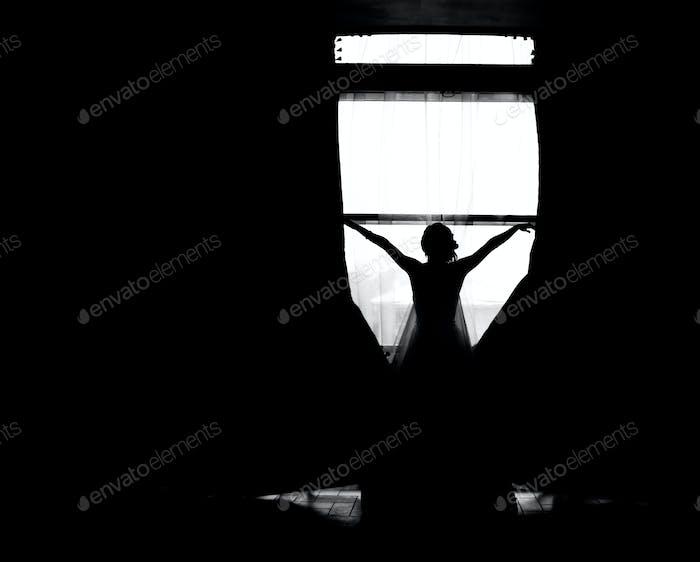 Silhouette der Braut