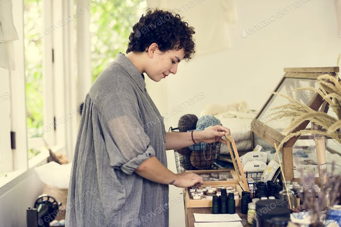 An entrepreneur woman in a clothe shop