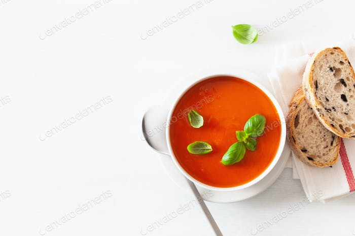 tomato soup flat lay on white backgorund
