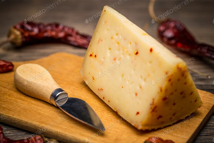 Artisan cheese with chilli