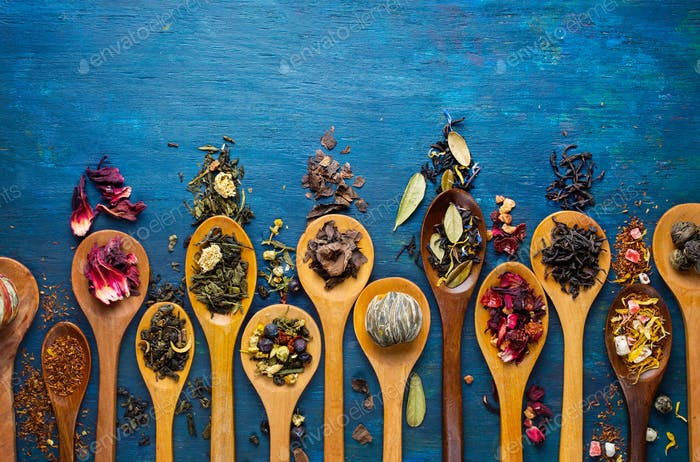 Dry Tea in a Wooden Spoons