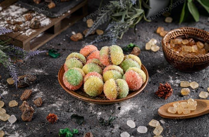 Multi coloured homemade cookies
