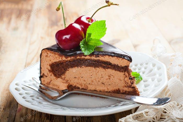 Stück leckeren Schokoladenmousse Kuchen