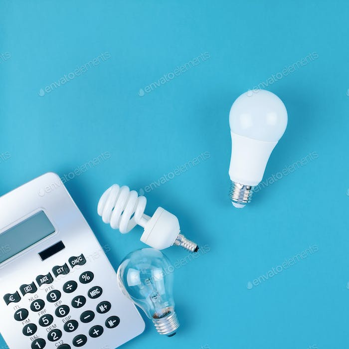 Old and new light bulbs. Energy saving concept