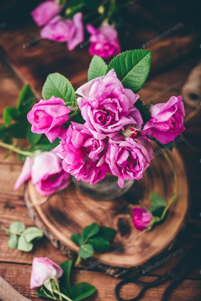 Bouquet of pink garden roses in jar