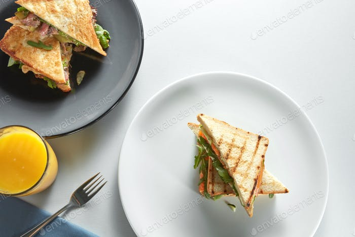 sandwiches on plates