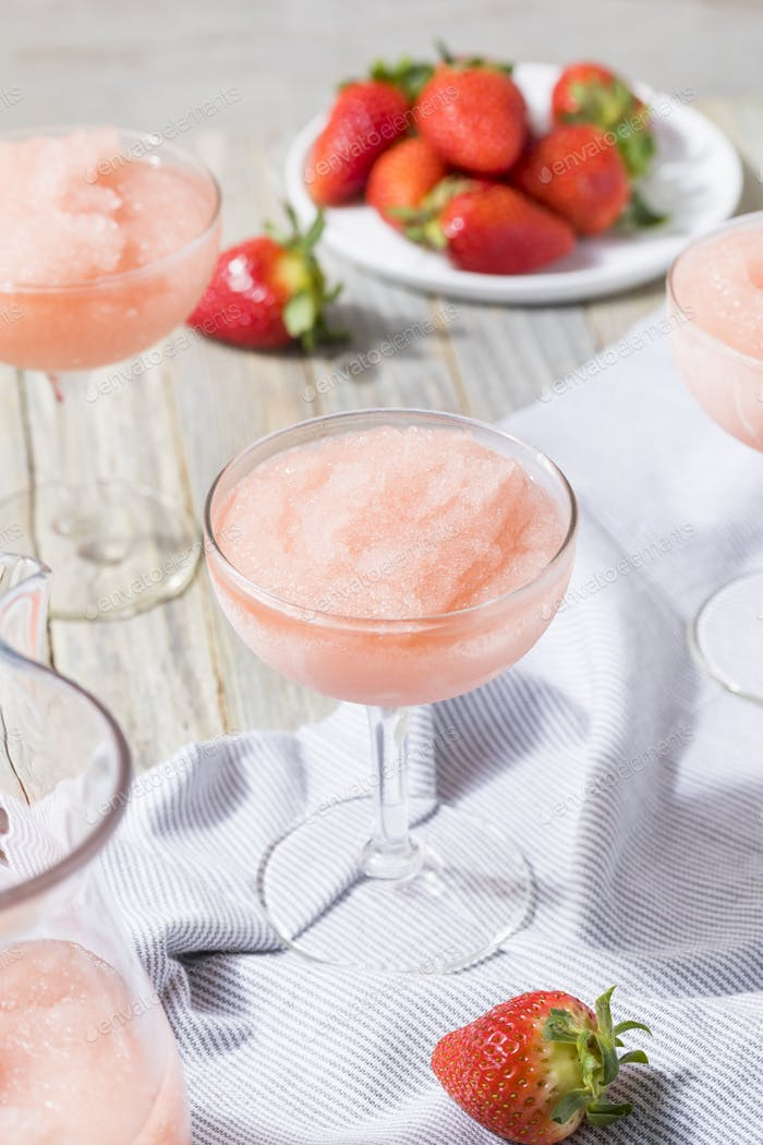 Cold Refreshing Frozen Rosé Wine Cocktail