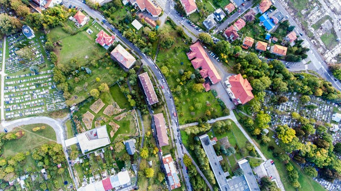 Residential neighborhood and cementery in Banska Bystrica, Slova